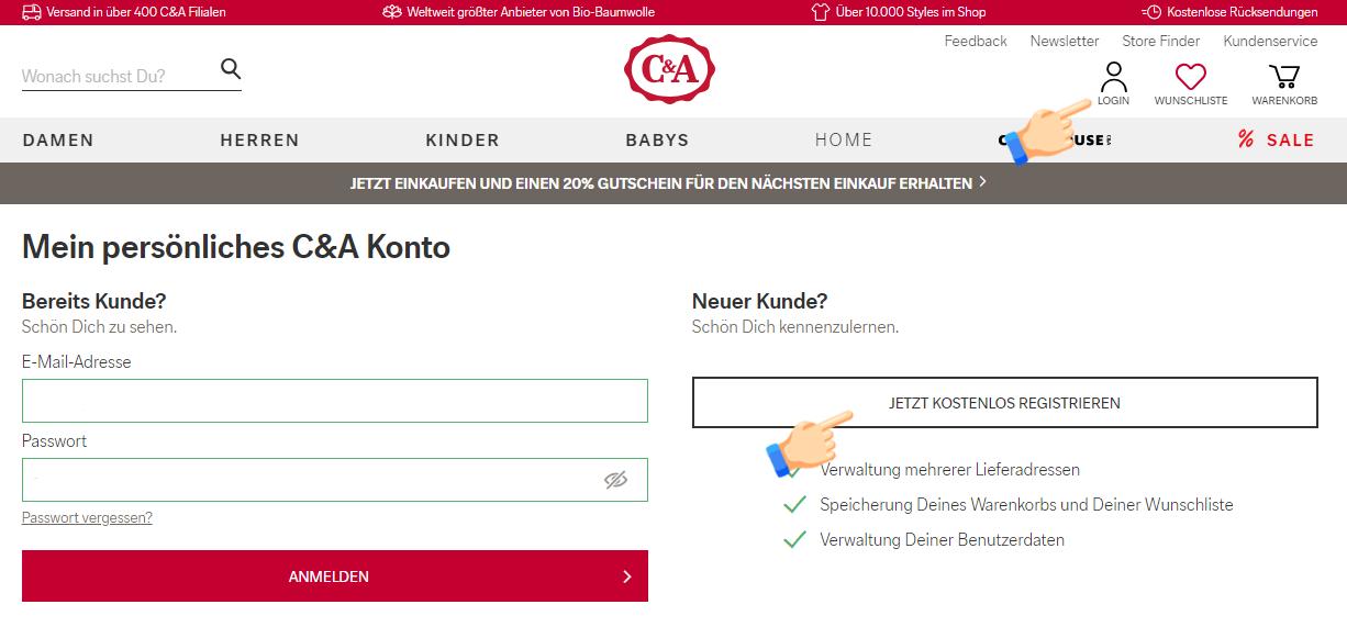 регистрация на C&A